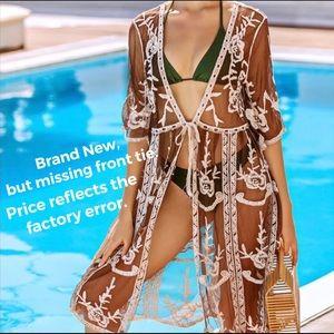 🆕 Cotton-Blend Embroidered Mesh Kimono Coverup